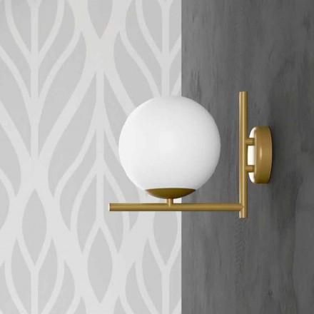 Lampă de perete modernă cu finisaj din alamă metalică și sticlă opală Fabricată în Italia - Carima