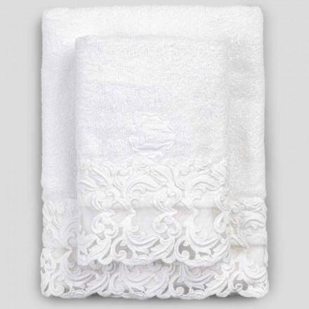 Prosoape din bumbac alb, cu dantelă, 2 bucăți de lux italian - Sposi