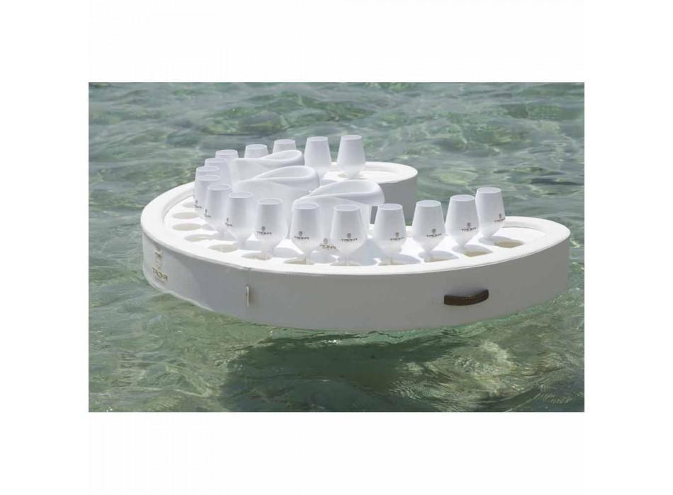 Bară plutitoare Trona în piele ecologică albă din piele și plexiglas