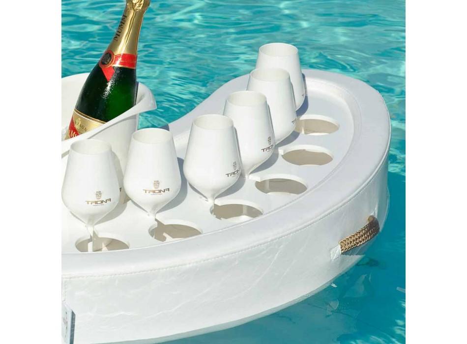 Swim-up bar Trona piele faux alb nautic și plexiglass