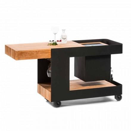 Modern Bar mobil pe roți Design cu masă din lemn și oțel - Giancalliope