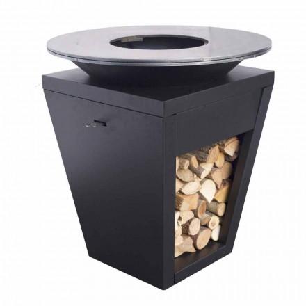 Gratar cu lemne cu placa de gatit si compartiment pentru suport de lemn - Ferran
