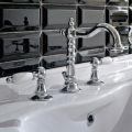 Baterie de lavoar cu 3 găuri cu canal de alamă în stil clasic artizanal - Noriana