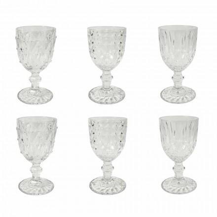 Pahar în sticlă transparentă cu decor în relief 12 bucăți - Angers