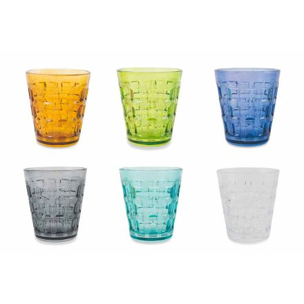 12 Serviciile colorate Ochelari de apă din sticlă colorată - împletire