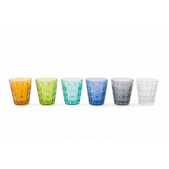 6 Serviciile colorate Ochelari de apă din sticlă colorată - împletire