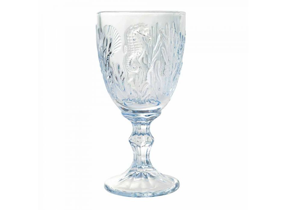 Pahare Vin sau apă Sticlă colorată Decor marin 12 bucăți - Mazara
