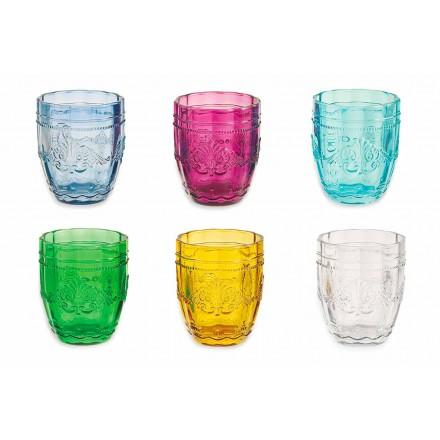 Ochelari colorați și eleganți în serviciu de sticlă din 6 bucăți pentru apă - șurub