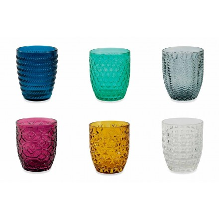Ochelari modern decorați din sticlă colorată care servesc apă 6 bucăți - amestec
