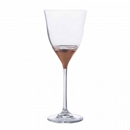Pahar de cristal cu decor din bronz, aur sau platină 12 bucăți - Soffio