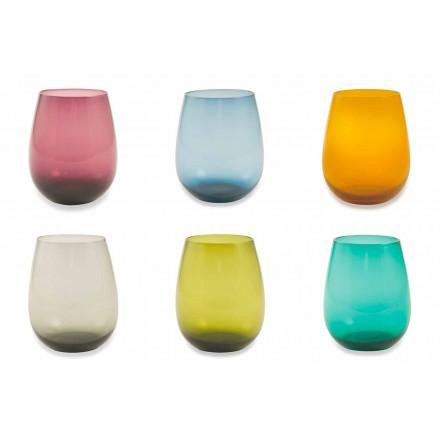 Tumblers din sticlă colorată pentru serviciul modern de apă din 6 bucăți - Aperi
