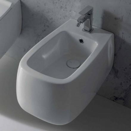 Design bideu suspendat în ceramica albă Gaiola, fabricat în Italia