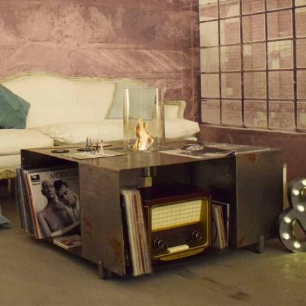 Etaj Bio-șemineu și măsuță de cafea cu design modern din oțel - Christopher
