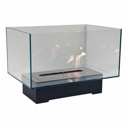 Șemineu de podea cu design modern în sticlă și oțel sau Corten - Bradley