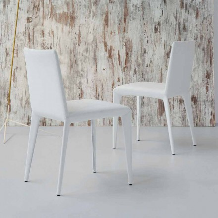 Bonaldo Filly scaun de design tapitat în piele alba făcută în Italia