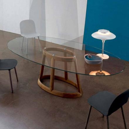Bonaldo Greeny oval masă în design de cristal și lemn făcute în Italia
