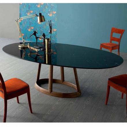 Bonaldo Greeny, o masă ovală din marmură Marquinia fabricată în Italia