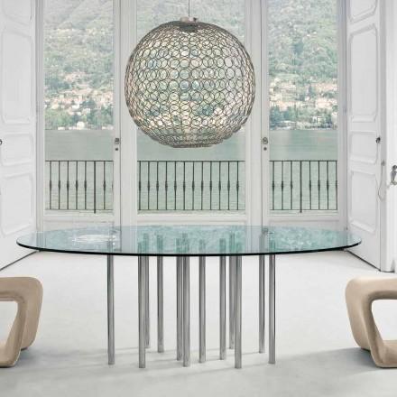 Bonaldo Mille masă rotundă din cristal și oțel cromat fabricate în Italia