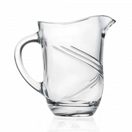 Carafă de cristal ecologică cu apă decorată manual, 2 bucăți - ciclon
