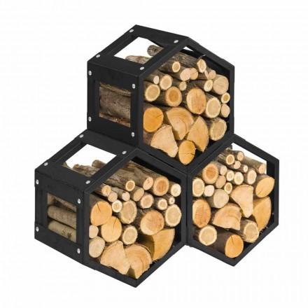 Suport de lemn modular pentru design interior interior din oțel negru - hexagonal