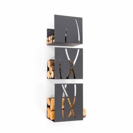 Suport pentru lemn de foc cu design modern, montat pe perete din oțel negru, 3 piese - Garigliano