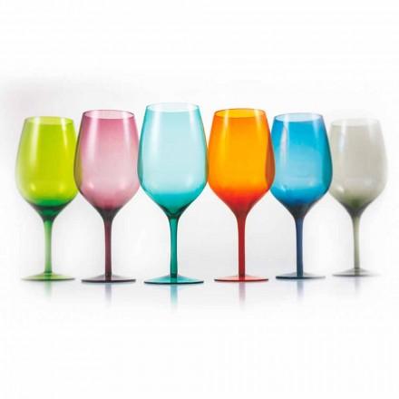 Pahare de vin colorate în sticlă albă sau roșie 3 variante 12 bucăți - Aperi