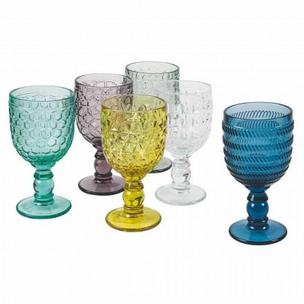 Calici decorate din sticlă colorată Serviciu apă sau vin 12 bucăți - Mix