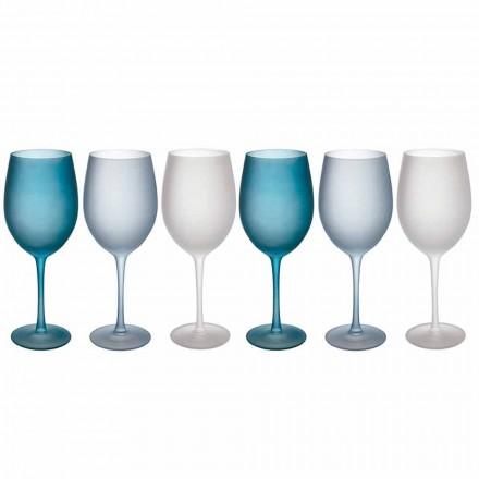 Pahare de vin colorate în sticlă mată cu efect de gheață, 12 bucăți - toamnă