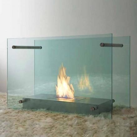 Șemineu cu bioetanol în pardoseală, proiectat din sticlă și oțel pentru interior - Edison