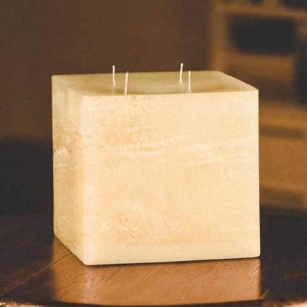 Lumânare pătrată modernă de ceară realizată manual în Italia - Mondeo