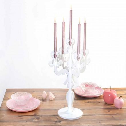 Design clasic, suport mediu pentru lumânări, 5 brațe din plexiglas, Aragona
