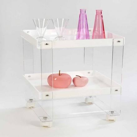 Design carucior cu 2 rafturi din plexiglas, Diso