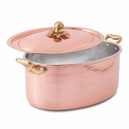 Caserola ovala din cupru conservat manual pentru cuptor si capac 27x20 cm - Mariag