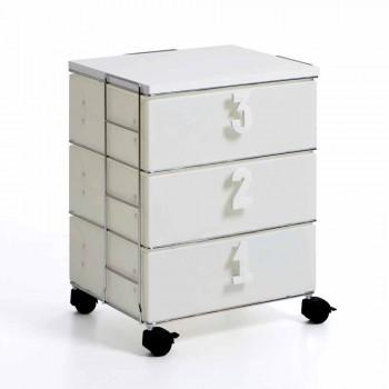3 sertare cu mânere albe și roți numerice Yodi
