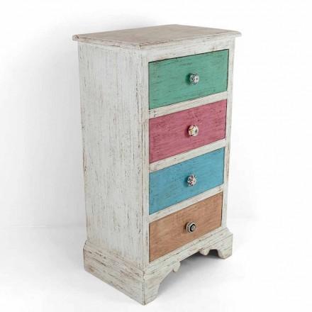 Comodă artizanală cu 4 sertare din lemn alb Fabricat în Italia - Manhattan