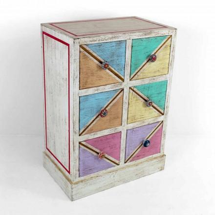 Comodă din lemn fabricată manual cu sertare colorate Made in Italy - Brighella