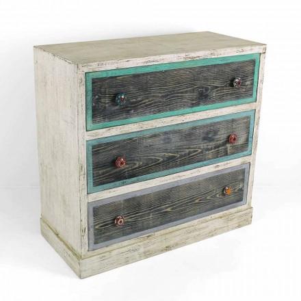 Comodă artizanală din lemn de brad cu 3 sertare Made in Italy - Maimuță