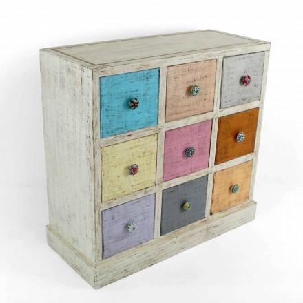 Comodă artizanală din lemn masiv cu 9 sertare Made in Italy - Pierrot