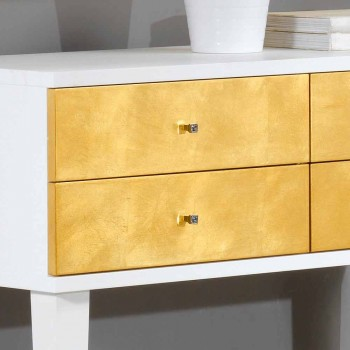 Alb Comodă 4 sertare Etty frunze de aur, realizate în Italia