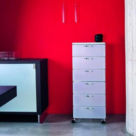 Design piept 6 sertare în alb din polipropilenă Adam / gri