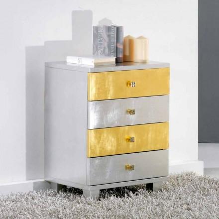 Sertar de design de argint și aur din lemn Etty, made in Italy