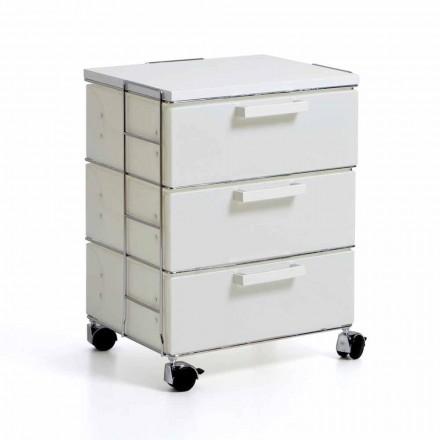 Piept alb modern cu 3 sertare si de top din MDF Valerie