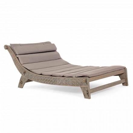 Lungă de șezlong din lemn de tec cu incrustări pentru homemotion - Giobbe