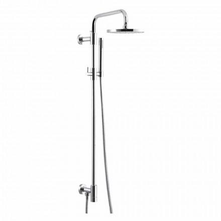 Coloana de duș din alamă cromată cu cap de duș din oțel Fabricat în Italia - Daino
