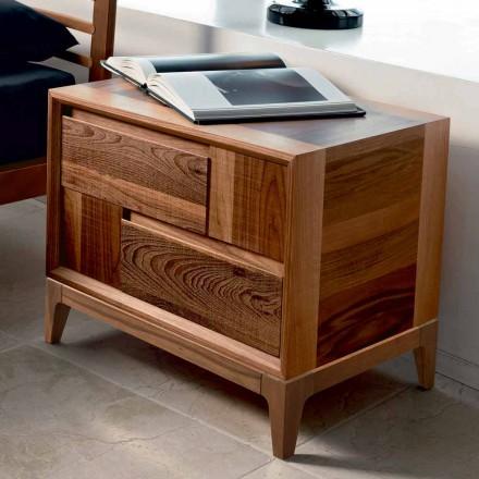 Dresser 2 sertare din lemn masiv de nuc design modern, Nino