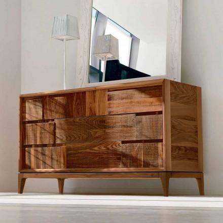 Dresser Design 3 sertare modern din lemn de nuc masiv, Nino