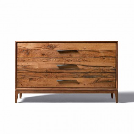 Dresser 3 sertare nuc design modern, L 131 x W 55 x H 80 cm, Sandro