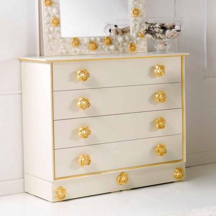 Dresser 4 sertare de design cu butoni de lemn în formă de trandafiri Renoir