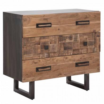 Comoda din lemn de salcam si fier cu 3 sertare de design modern - smarald