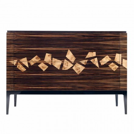Design din piele de lemn din lemn de abanos 4Cassetti Grilli Zarafa fabricat în Italia